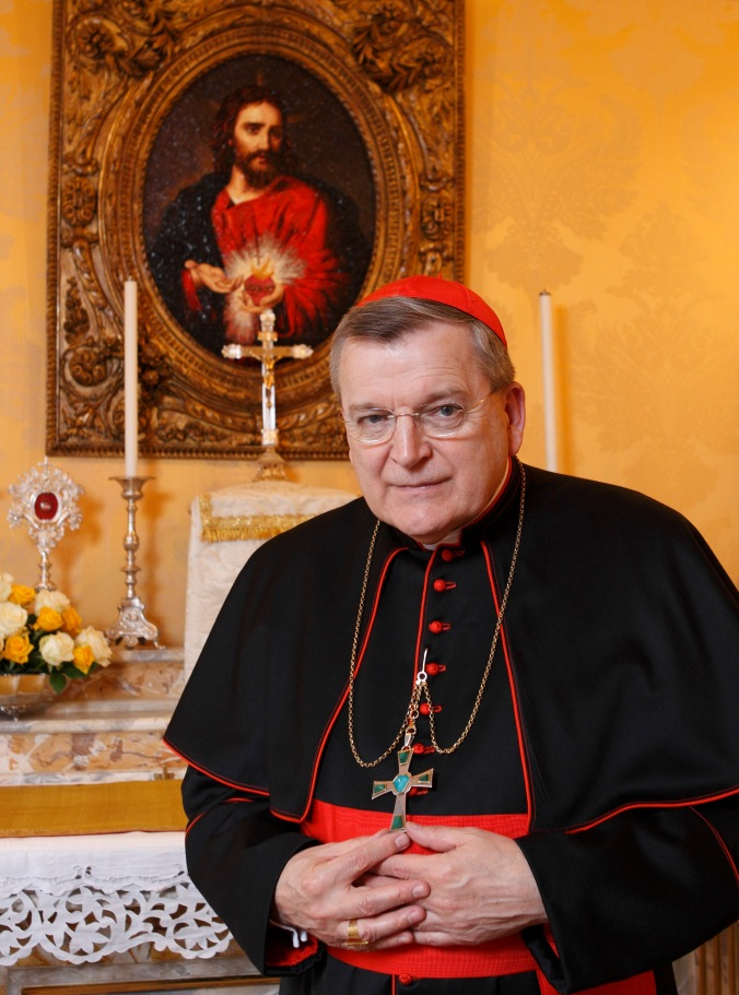 CARDINAL BURKE PICTURED IN CHAPEL OF RESIDENCE AT VATICAN